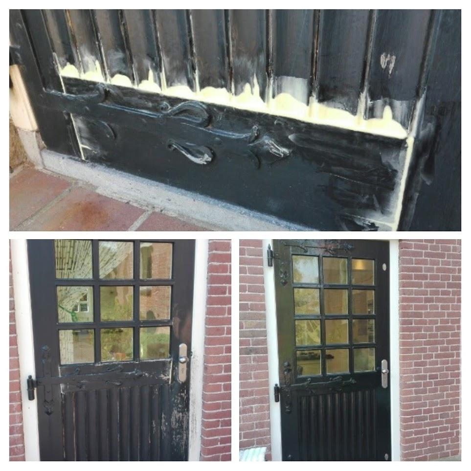 Collage houtreparatie en schilderwerk deur
